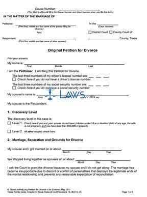 form  uncontested divorce process  children