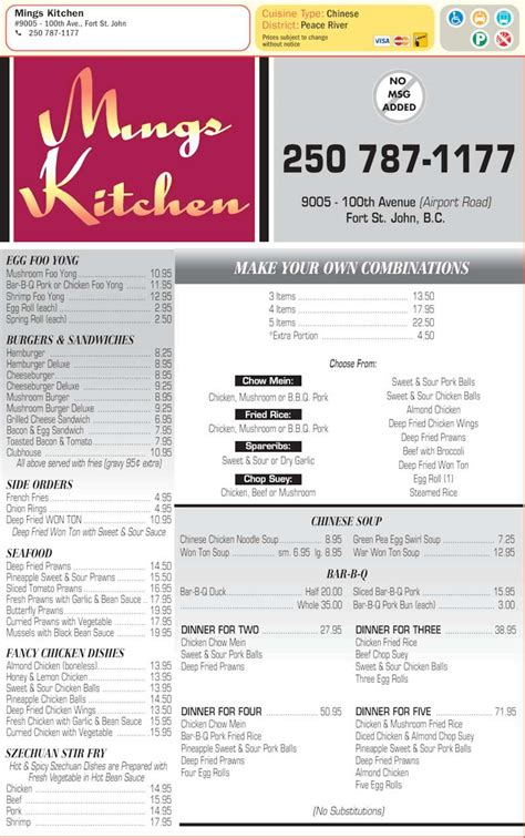 Mings Kitchen  Menu, Hours & Prices  9005 100 Ave, Fort
