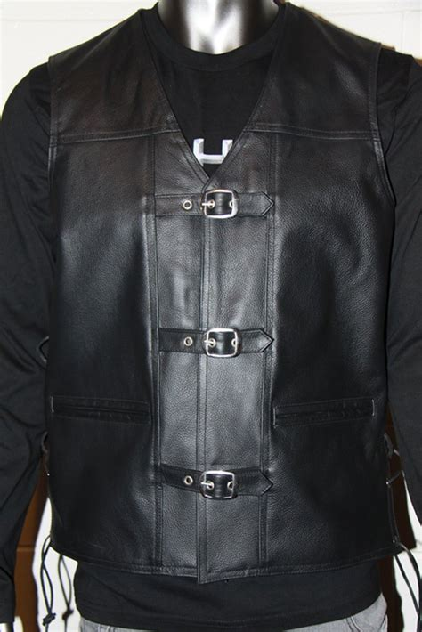 Cowhide Leather Vest by Krome Black Cowhide Leather Vest With Chrome Buckles Rev