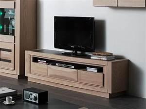 Meuble TV Marina En Chne Avec Niche Large 1 Ou 3 Tiroirs