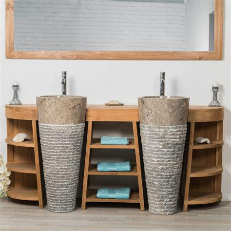 totem salle de bain meuble sous vasque vasque en bois teck massif
