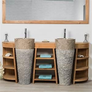 Salle De Bain Meuble : meuble sous vasque double vasque en bois teck massif ~ Dailycaller-alerts.com Idées de Décoration