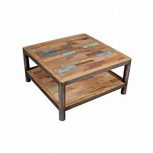 Table Basse Carrée En Bois : table basse carr e bois recycl double plateaux 80x80x40cm ~ Teatrodelosmanantiales.com Idées de Décoration