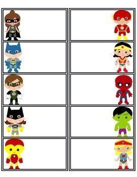 Superhero Labels Etiquetas de superhéroes Nombres de