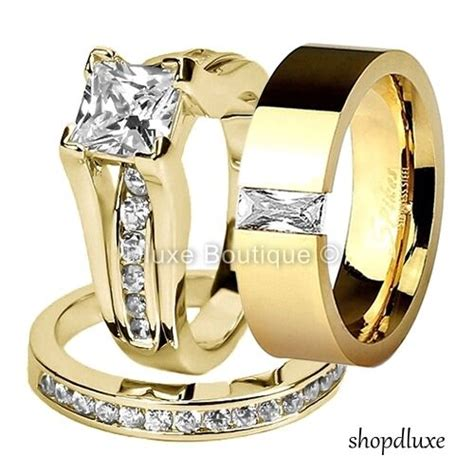 his hers 3 piece 14k gold plated cz wedding engagement