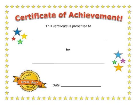 business printable certificates  achievement
