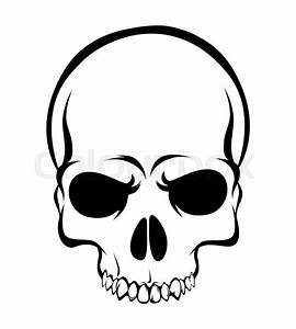 Skull - Scary Evil Head, Vector Illustration on white ...