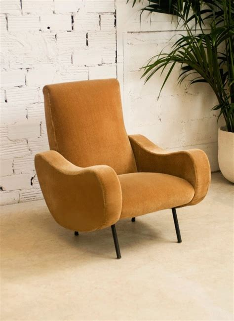 large vintage armchair beige velvet retro style 50s armchair from the 50s comfortable seat