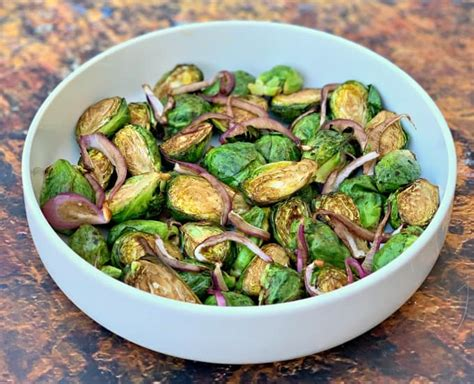 sprouts brussels fryer air balsamic crispy frozen keto vinegar parmesan fresh fried roasted recipe honey using onions cook glaze long
