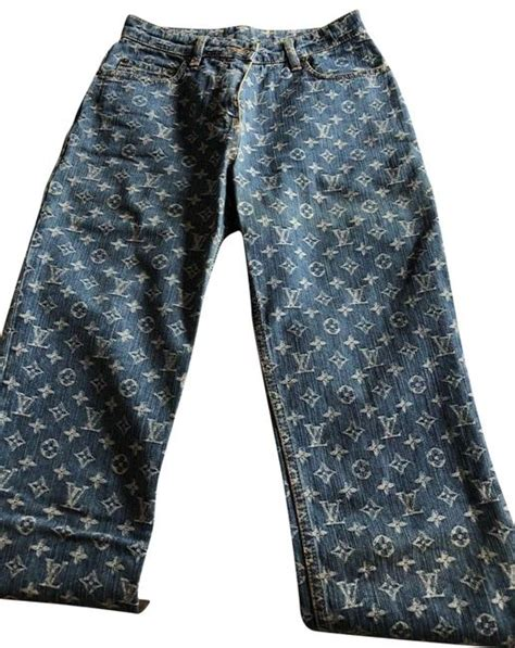 louis vuitton blue monogram denim fr straight leg jeans