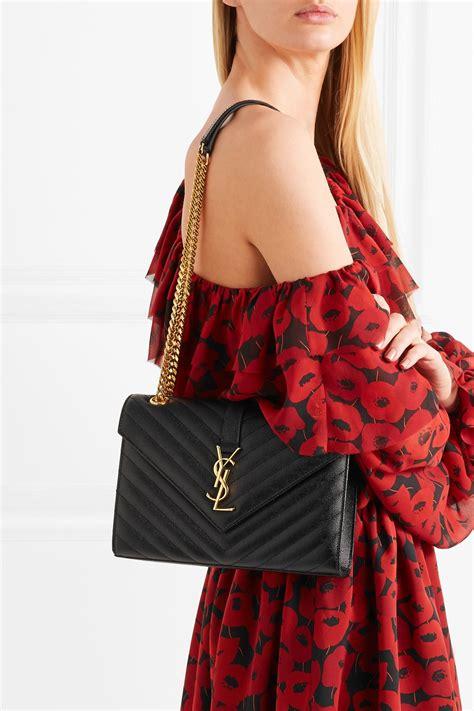 saint laurent envelope quilted textured leather shoulder bag  black lyst
