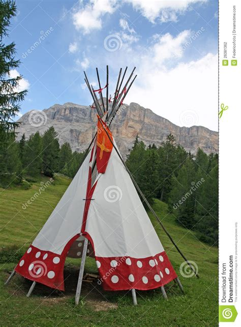 tent cone shaped   indian reserve stock photo image