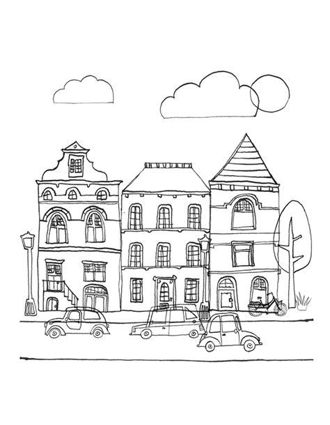 Huizen Kleurplaat by Nederlandse Straat Met Huizen Kleurenisleuk Nl