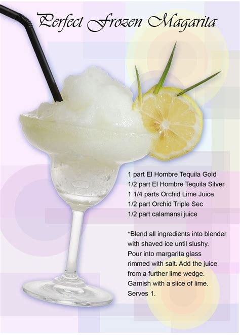 frozen cocktail recipes perfect frozen margarita ingredients 1 part el hombre tequila gold 1 2 part el hombre tequila