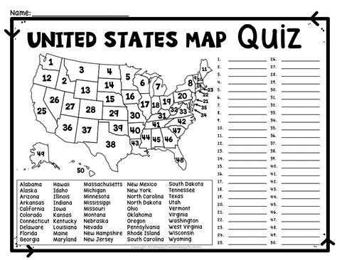 united states map quiz worksheet usa map test with
