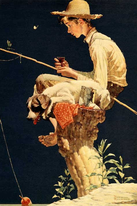 boy fishing canvas art print  norman rockwell icanvas