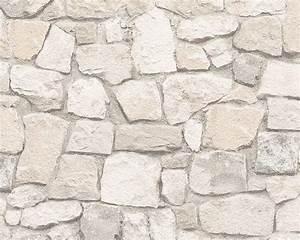tapete stein bruchstein creme beige as creation 6924 29 With balkon teppich mit tapete steinoptik selbstklebend
