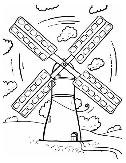 Windmill Coloring Pages Printable Wind Windmills Turbine