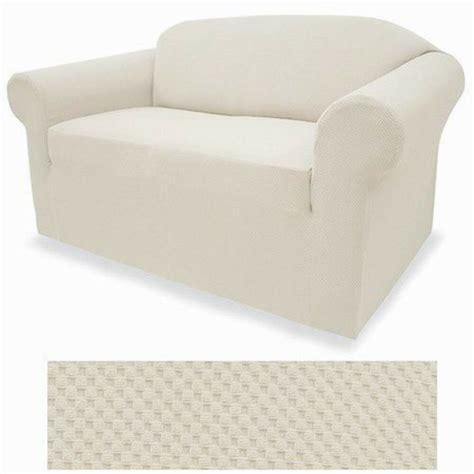 white slipcover loveseat stretch form fit 3 pcs slipcovers set sofa