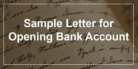 sample letter  opening bank account