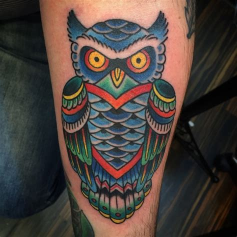 blue owl tattoo  owl calf tattoo  tattoochiefcom