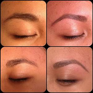 Before and after. Brows filled in with brow powder. First ...