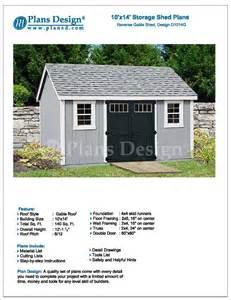 garden storage shed plans 10 x 14 gable roof design d1014g free material list ebay