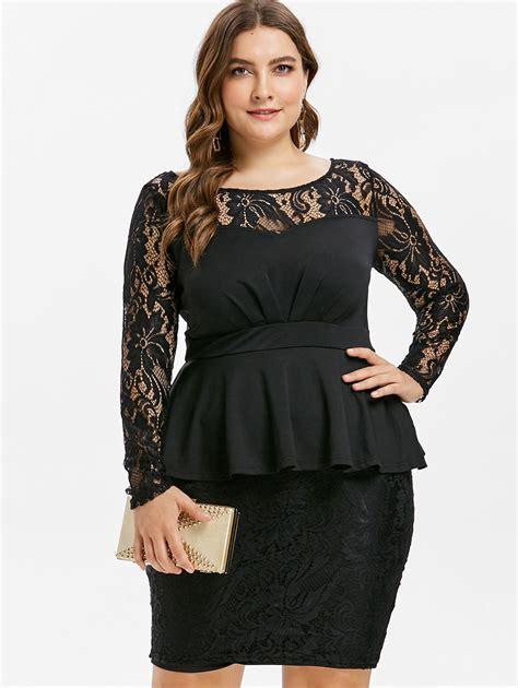 Azulina Plus Size Lace Panel Bodycon Dress Ol Party Dress