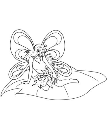 Fairy Sitiing on Leaf coloring page Free Printable