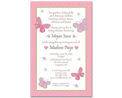 carters baby girl baby shower invitations butterfly
