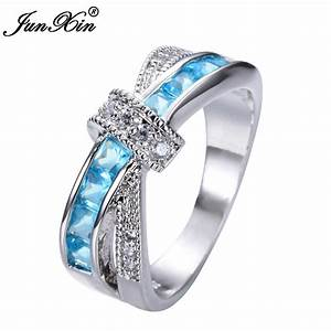 Top quality light blue female ring white gold filled for Wedding rings for male and female