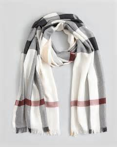 designer outlet shop burberry half mega check silk scarf in white ivory check lyst