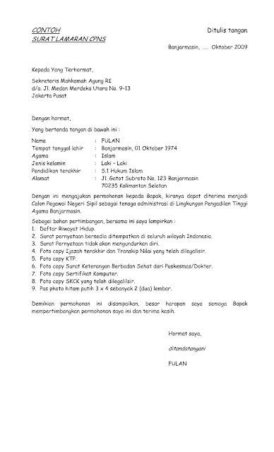Lamaran Pekerjaan Cpns by Contoh Surat Lamaran Cpns