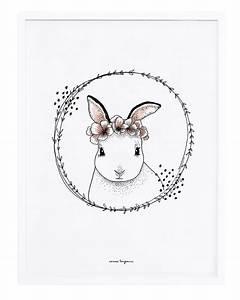 affiche romantique lapin fleurs papillons de lilipinso With affiche chambre bébé avec robe vintage fleur