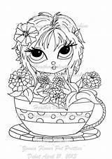 Digi Stamps Coloring Flower Pot Zinnia Sunshine Stamp Lacy Eyes Heather Digital Pretties Pots Flowers Bestpin Lacysunshine Weebly Stained Glass sketch template