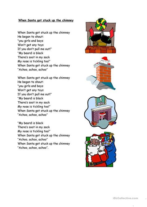 santa  stuck   chimney worksheet  esl