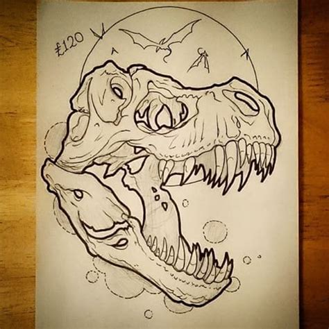 uncolored dinosaur skull  full moon background tattoo