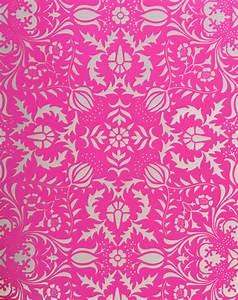 Dauphine Hot Pink Damask Wallpaper | Little Crown Interiors