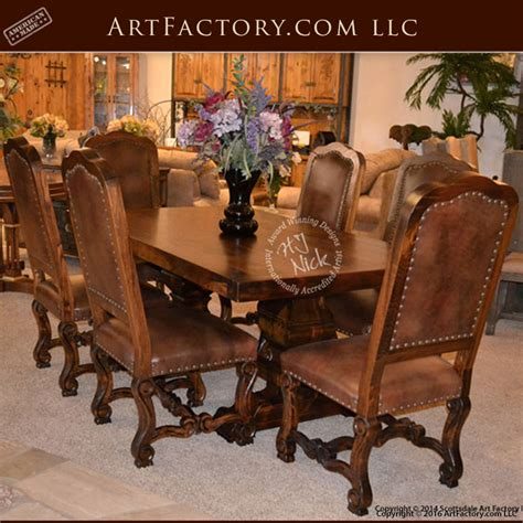 fine art dining room set real solid wood table  chairs