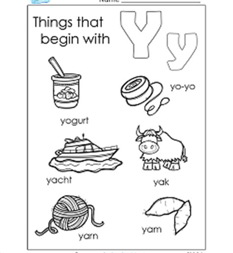 alphabet worksheets alphabet worksheets for kindergarten 456 | things that begin with y 250x272