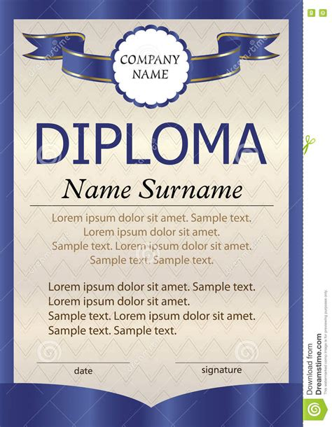 blue diploma  certificate  vertical template  text