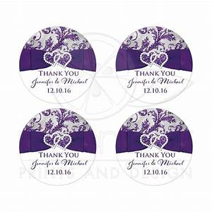 Personalized wedding favor sticker purple silver white for Kitchen colors with white cabinets with personalized stickers for wedding favors