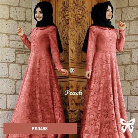flavia store maxi dress lengan panjang set 2 in 1 brukat fs0498 kebaya modern gamis