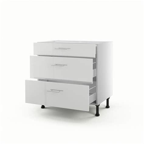 tiroir meuble cuisine meuble de cuisine bas blanc 3 tiroirs h 70 x l 80 x p