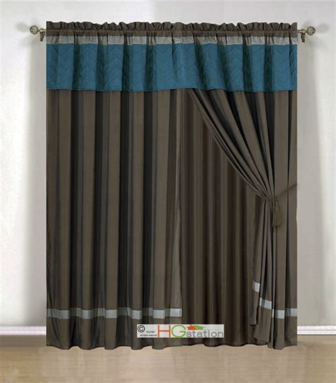 4 pc quilted chevron zigzag striped curtain set blue brown