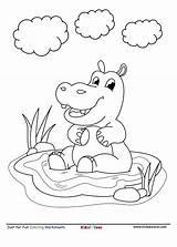 Hippo Coloring Cartoon Worksheet Letter Kidzezone Pond sketch template
