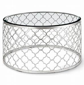 Gable hollywood regency glass silver leaf round coffee for Round glass silver coffee table