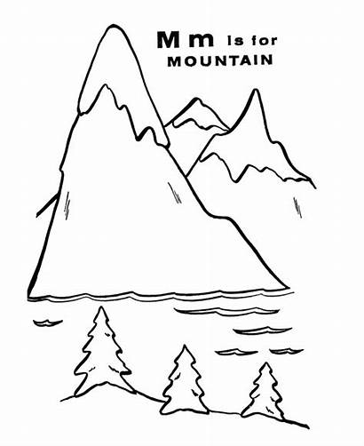 Mountain Coloring Mountains Pages Letter Worksheet Clipart