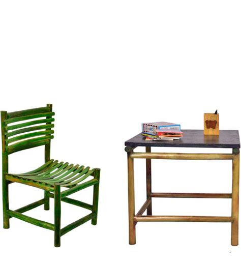 study table chair set in green colour by