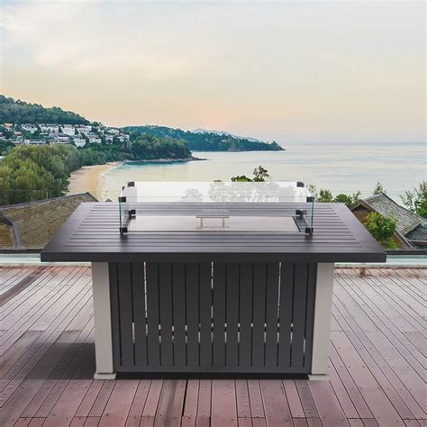 As a result, flames look larger and brighter, plus. Arlmont & Co. Rickey Aluminum Propane Gas Fire Pit Table ...